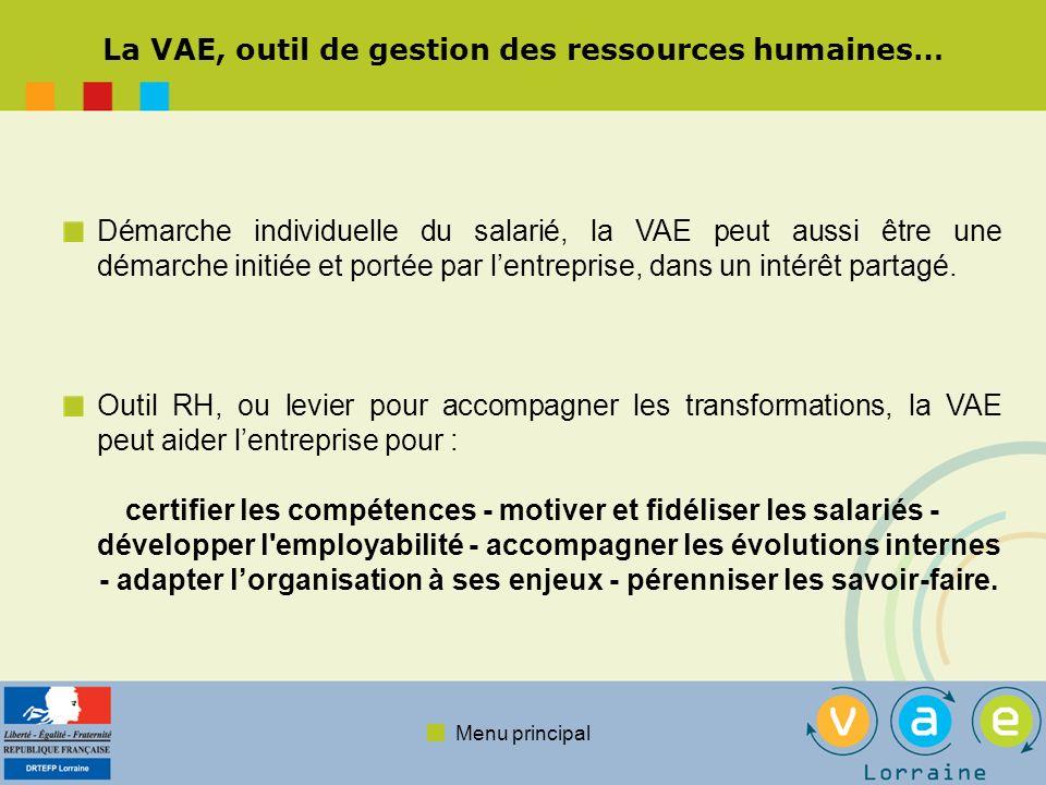 Menu principal La VAE, outil de gestion des ressources humaines… Démarche individuelle du salarié, la VAE peut aussi être une démarche initiée et port