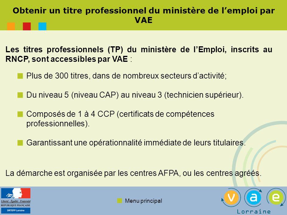 Menu principal Obtenir un titre professionnel du ministère de lemploi par VAE Plus de 300 titres, dans de nombreux secteurs dactivité; Du niveau 5 (ni