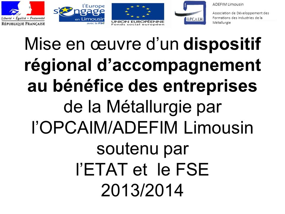 Mise en œuvre dun dispositif régional daccompagnement au bénéfice des entreprises de la Métallurgie par lOPCAIM/ADEFIM Limousin soutenu par lETAT et l