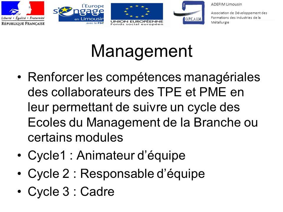 Management Renforcer les compétences managériales des collaborateurs des TPE et PME en leur permettant de suivre un cycle des Ecoles du Management de