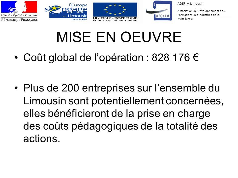 MISE EN OEUVRE Coût global de lopération : 828 176 Plus de 200 entreprises sur lensemble du Limousin sont potentiellement concernées, elles bénéficier