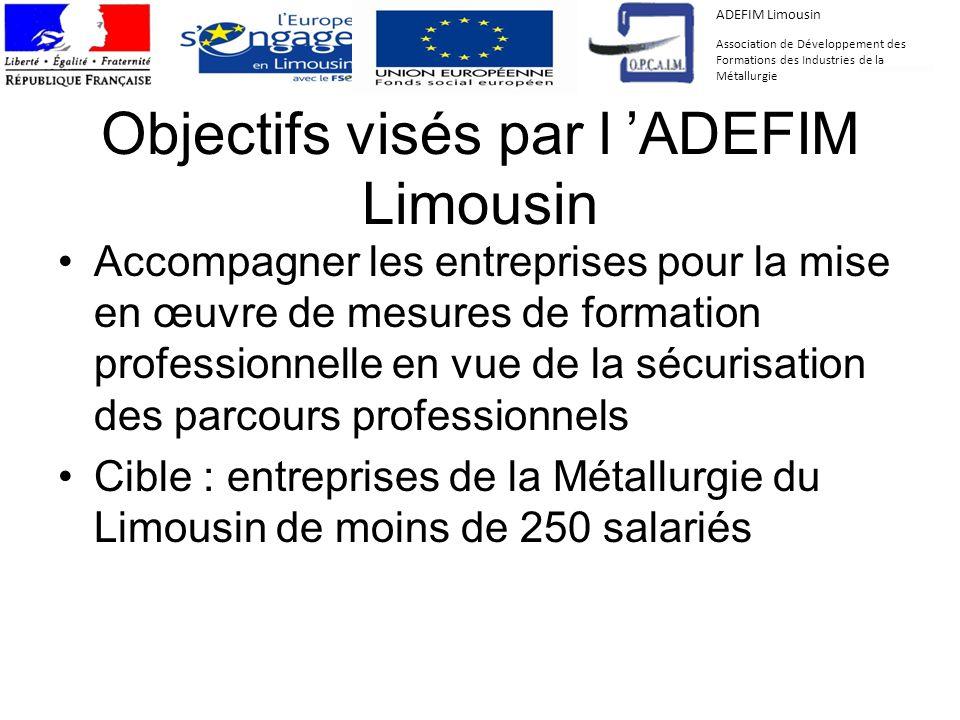 Objectifs visés par l ADEFIM Limousin Accompagner les entreprises pour la mise en œuvre de mesures de formation professionnelle en vue de la sécurisat