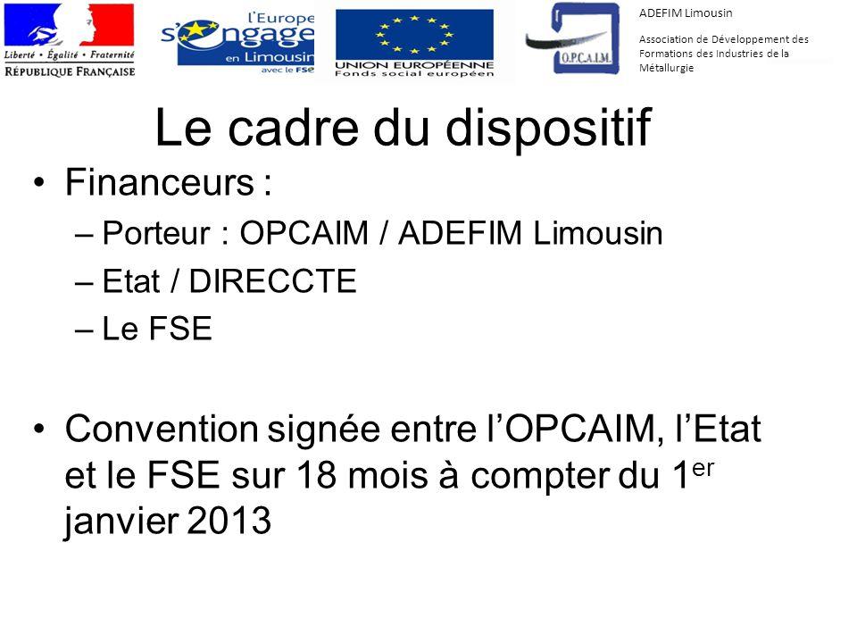 Le cadre du dispositif Financeurs : –Porteur : OPCAIM / ADEFIM Limousin –Etat / DIRECCTE –Le FSE Convention signée entre lOPCAIM, lEtat et le FSE sur