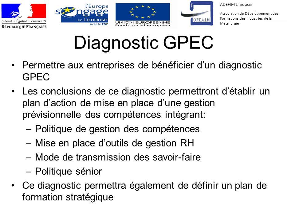 Diagnostic GPEC Permettre aux entreprises de bénéficier dun diagnostic GPEC Les conclusions de ce diagnostic permettront détablir un plan daction de m