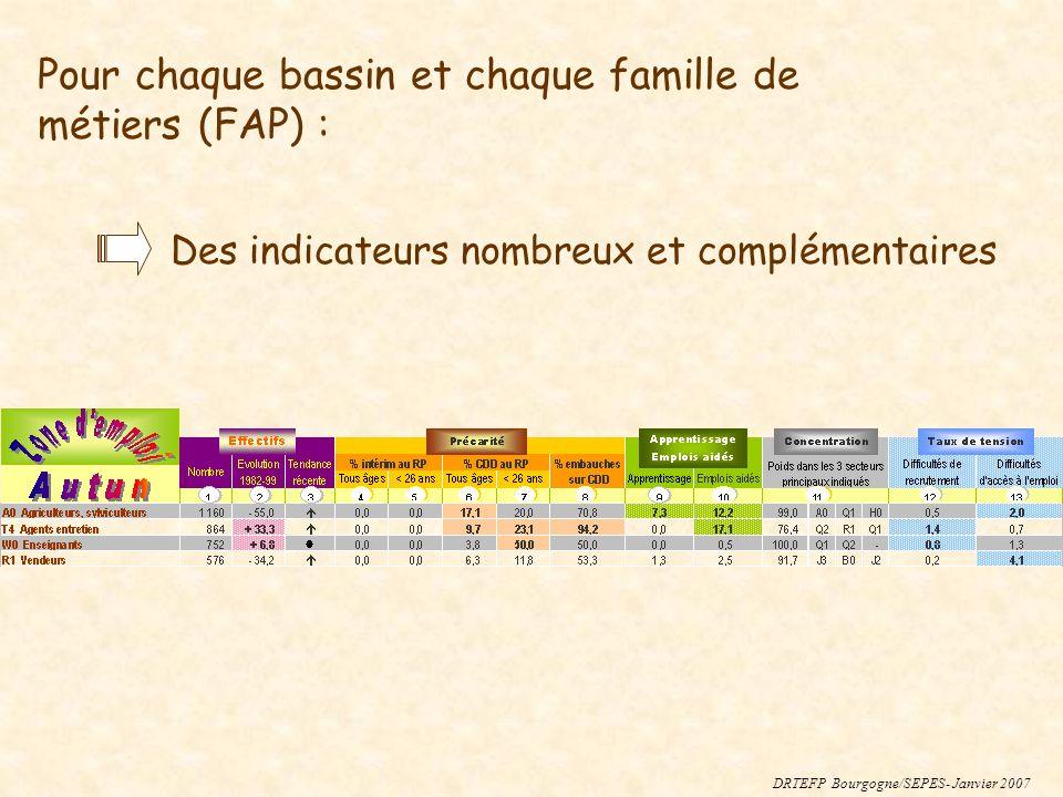 Pour chaque bassin et chaque famille de métiers (FAP) : Des indicateurs nombreux et complémentaires