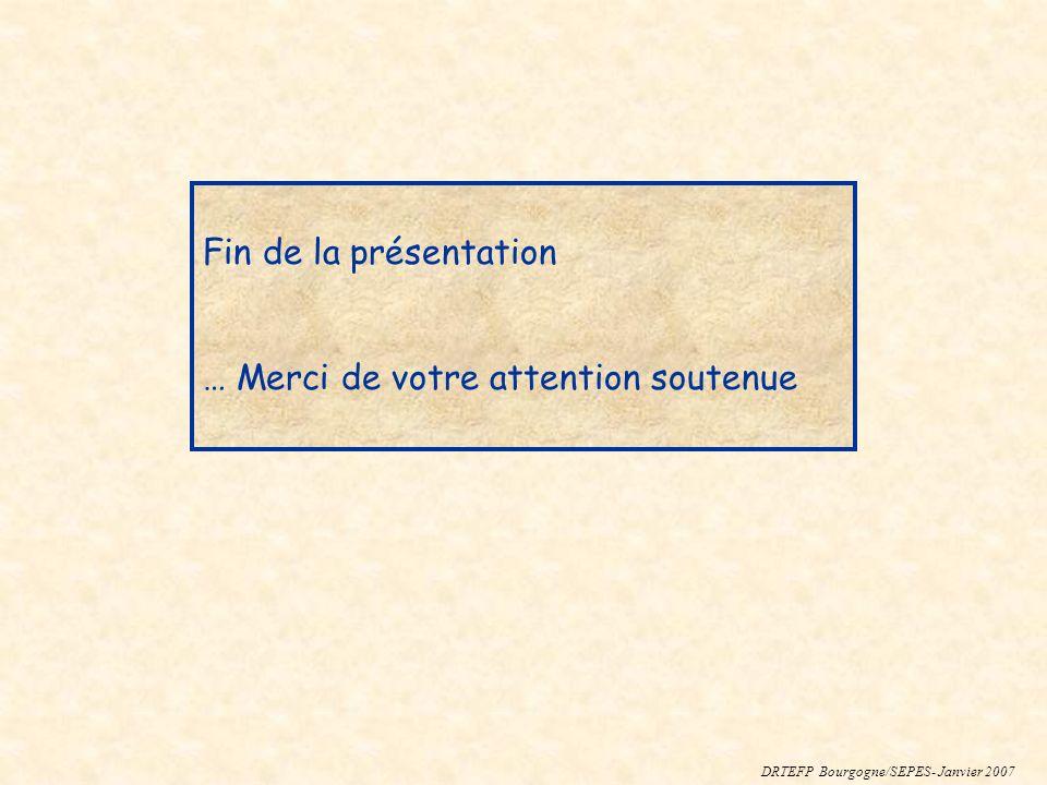 Fin de la présentation … Merci de votre attention soutenue