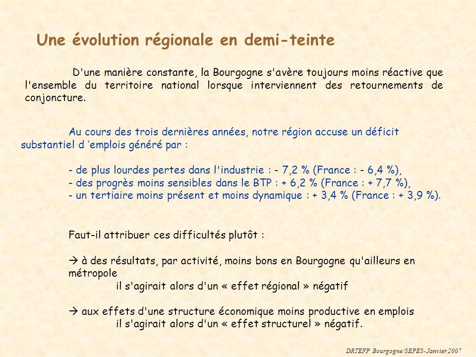 1 – Pour mesurer l effet régional, on attribue à chaque secteur de Bourgogne l évolution observée au niveau national et on compare le résultat fictif à celui réellement constaté.