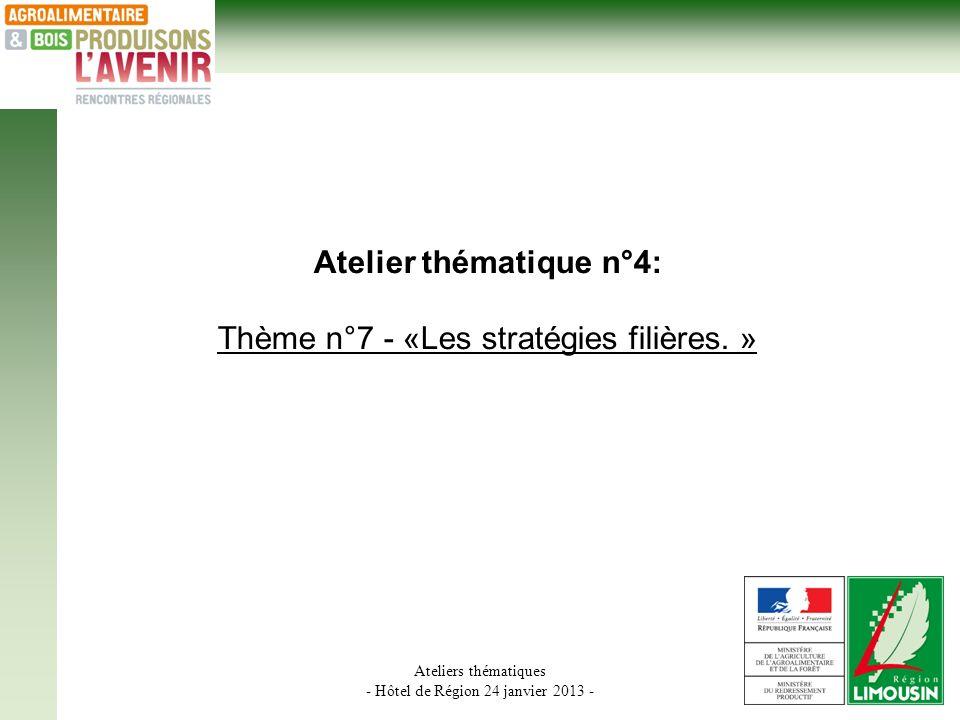 Ateliers thématiques - Hôtel de Région 24 janvier 2013 - Atelier thématique n°4: Thème n°7 - «Les stratégies filières.