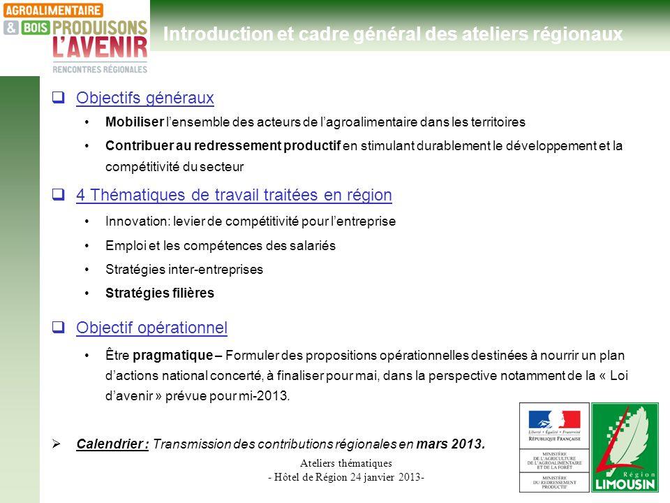 Ateliers thématiques - Hôtel de Région 24 janvier 2013- Introduction et cadre général des ateliers régionaux Objectifs généraux Mobiliser lensemble de