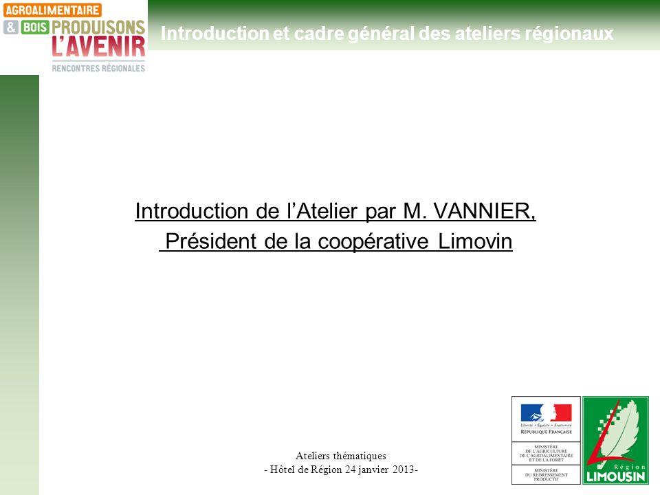 Ateliers thématiques - Hôtel de Région 24 janvier 2013- Introduction de lAtelier par M. VANNIER, Président de la coopérative Limovin Introduction et c