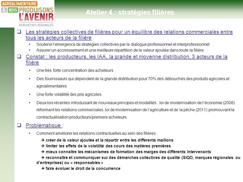 Ateliers thématiques - Hôtel de Région 24 janvier 2013- Atelier 4 : stratégies filières Les stratégies collectives de filières pour un équilibre des r