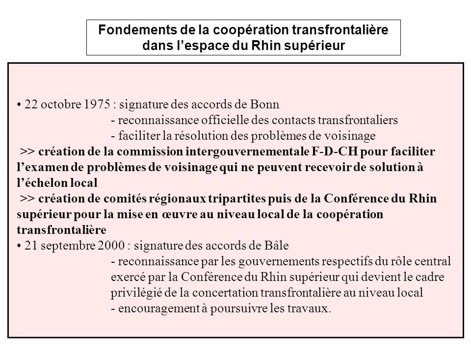 Fondements de la coopération transfrontalière dans lespace du Rhin supérieur 22 octobre 1975 : signature des accords de Bonn - reconnaissance officiel