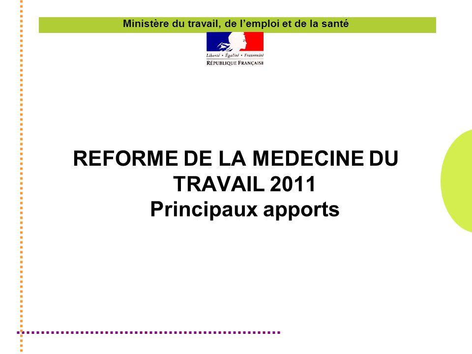 Ministère du travail, de lemploi et de la santé REFORME DE LA MEDECINE DU TRAVAIL 2011 Principaux apports