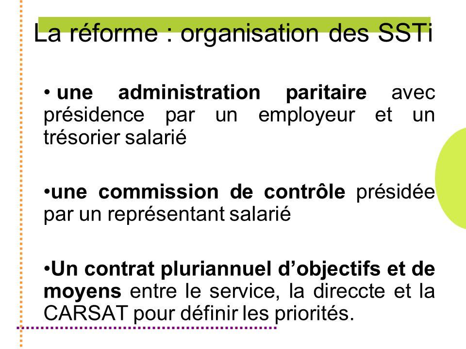 La réforme : organisation des SSTi une administration paritaire avec présidence par un employeur et un trésorier salarié une commission de contrôle présidée par un représentant salarié Un contrat pluriannuel dobjectifs et de moyens entre le service, la direccte et la CARSAT pour définir les priorités.