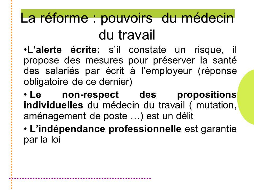 La réforme : pouvoirs du médecin du travail Lalerte écrite: sil constate un risque, il propose des mesures pour préserver la santé des salariés par éc