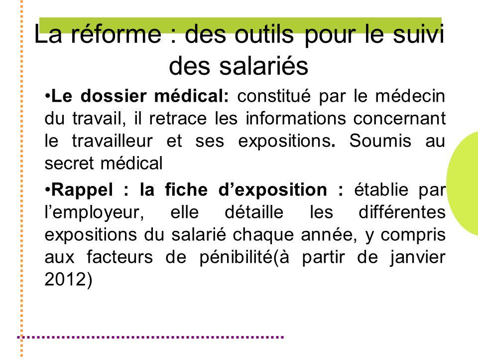 La réforme : des outils pour le suivi des salariés Le dossier médical: constitué par le médecin du travail, il retrace les informations concernant le travailleur et ses expositions.