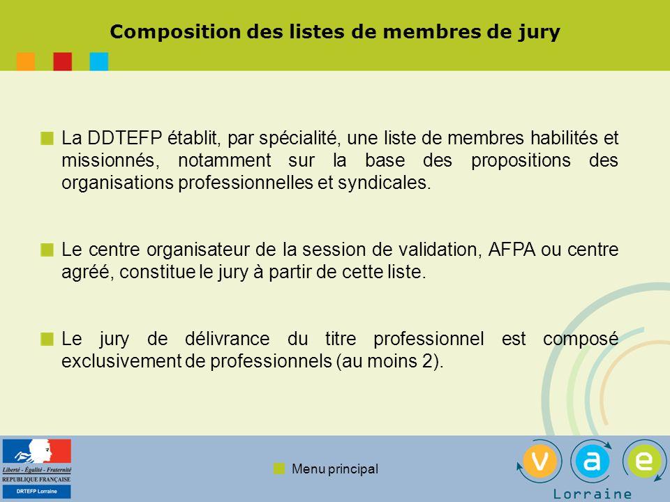 Menu principal Composition des listes de membres de jury La DDTEFP établit, par spécialité, une liste de membres habilités et missionnés, notamment su