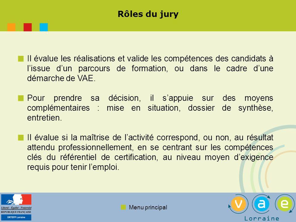 Menu principal Rôles du jury Il évalue les réalisations et valide les compétences des candidats à lissue dun parcours de formation, ou dans le cadre d