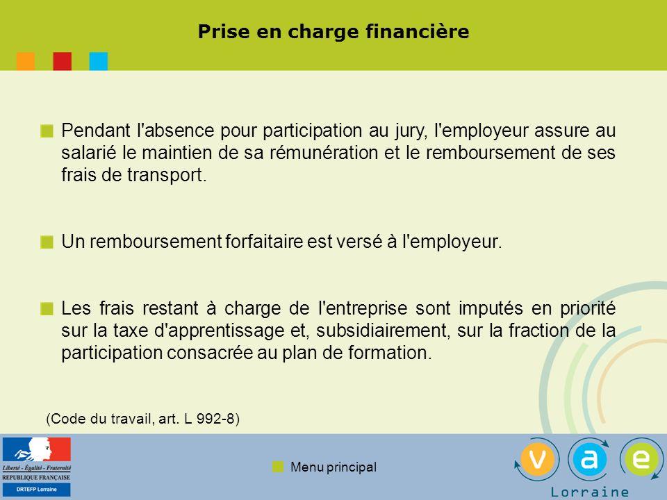 Menu principal Prise en charge financière Pendant l'absence pour participation au jury, l'employeur assure au salarié le maintien de sa rémunération e
