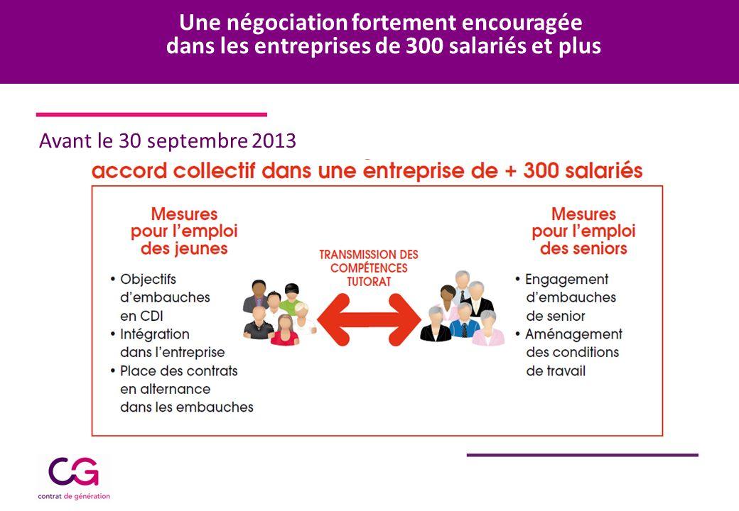 Une négociation fortement encouragée dans les entreprises de 300 salariés et plus Avant le 30 septembre 2013