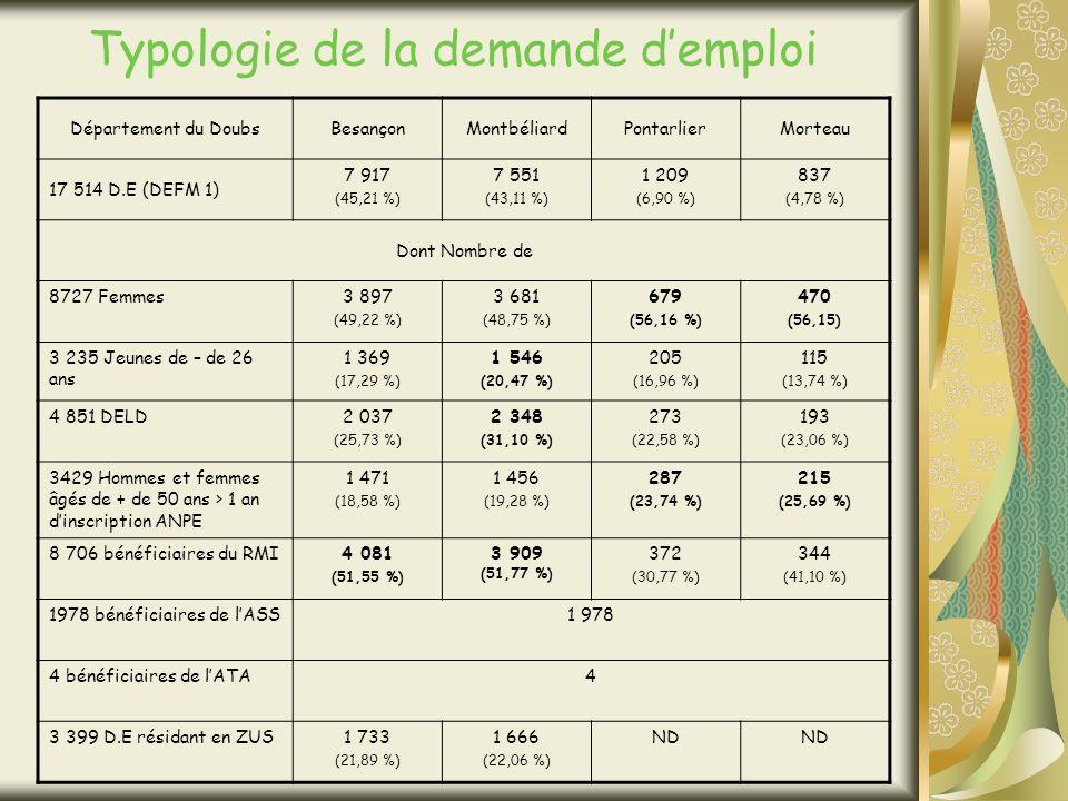 Typologie de la demande demploi Département du DoubsBesançonMontbéliardPontarlierMorteau 17 514 D.E (DEFM 1) 7 917 (45,21 %) 7 551 (43,11 %) 1 209 (6,90 %) 837 (4,78 %) Dont Nombre de 8727 Femmes3 897 (49,22 %) 3 681 (48,75 %) 679 (56,16 %) 470 (56,15) 3 235 Jeunes de – de 26 ans 1 369 (17,29 %) 1 546 (20,47 %) 205 (16,96 %) 115 (13,74 %) 4 851 DELD2 037 (25,73 %) 2 348 (31,10 %) 273 (22,58 %) 193 (23,06 %) 3429 Hommes et femmes âgés de + de 50 ans > 1 an dinscription ANPE 1 471 (18,58 %) 1 456 (19,28 %) 287 (23,74 %) 215 (25,69 %) 8 706 bénéficiaires du RMI4 081 (51,55 %) 3 909 (51,77 %) 372 (30,77 %) 344 (41,10 %) 1978 bénéficiaires de lASS1 978 4 bénéficiaires de lATA4 3 399 D.E résidant en ZUS1 733 (21,89 %) 1 666 (22,06 %) ND