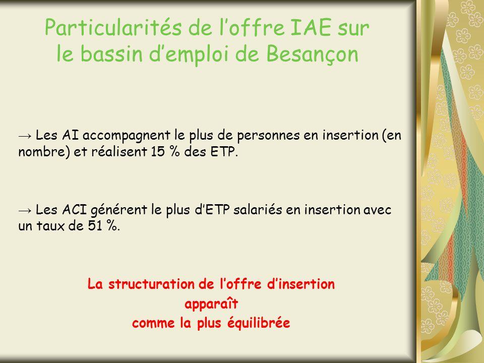 Particularités de loffre IAE sur le bassin demploi de Besançon Les AI accompagnent le plus de personnes en insertion (en nombre) et réalisent 15 % des ETP.