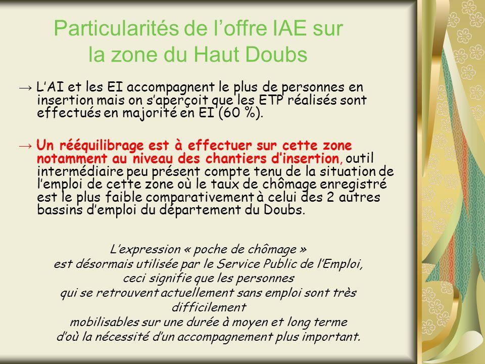 LAI et les EI accompagnent le plus de personnes en insertion mais on saperçoit que les ETP réalisés sont effectués en majorité en EI (60 %).