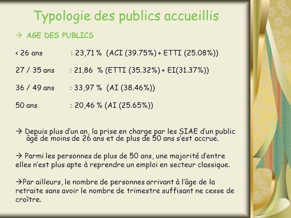 Typologie des publics accueillis AGE DES PUBLICS < 26 ans : 23,71 % (ACI (39.75%) + ETTI (25.08%)) 27 / 35 ans : 21,86 % (ETTI (35.32%) + EI(31.37%)) 36 / 49 ans : 33,97 % (AI (38.46%)) 50 ans : 20,46 % (AI (25.65%)) Depuis plus dun an, la prise en charge par les SIAE dun public âgé de moins de 26 ans et de plus de 50 ans sest accrue.
