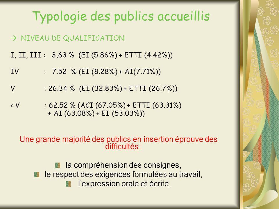 Typologie des publics accueillis NIVEAU DE QUALIFICATION I, II, III : 3,63 % (EI (5.86%) + ETTI (4.42%)) IV : 7.52 % (EI (8.28%) + AI(7.71%)) V : 26.34 % (EI (32.83%) + ETTI (26.7%)) < V : 62.52 % (ACI (67.05%) + ETTI (63.31%) + AI (63.08%) + EI (53.03%)) Une grande majorité des publics en insertion éprouve des difficultés : la compréhension des consignes, le respect des exigences formulées au travail, lexpression orale et écrite.
