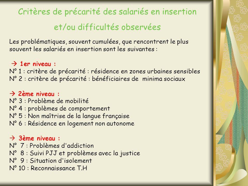 Les problématiques, souvent cumulées, que rencontrent le plus souvent les salariés en insertion sont les suivantes : 1er niveau : N° 1 : critère de précarité : résidence en zones urbaines sensibles N° 2 : critère de précarité : bénéficiaires de minima sociaux 2ème niveau : N° 3 : Problème de mobilité N° 4 : problèmes de comportement N° 5 : Non maîtrise de la langue française N° 6 : Résidence en logement non autonome 3ème niveau : N° 7 : Problèmes d addiction N° 8 : Suivi PJJ et problèmes avec la justice N° 9 : Situation d isolement N° 10 : Reconnaissance T.H Critères de précarité des salariés en insertion et/ou difficultés observées