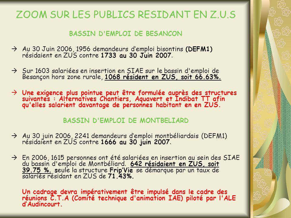 ZOOM SUR LES PUBLICS RESIDANT EN Z.U.S BASSIN D EMPLOI DE BESANCON Au 30 Juin 2006, 1956 demandeurs demploi bisontins (DEFM1) résidaient en ZUS contre 1733 au 30 Juin 2007.
