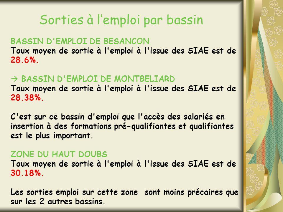 Sorties à lemploi par bassin BASSIN D EMPLOI DE BESANCON Taux moyen de sortie à l emploi à l issue des SIAE est de 28.6%.