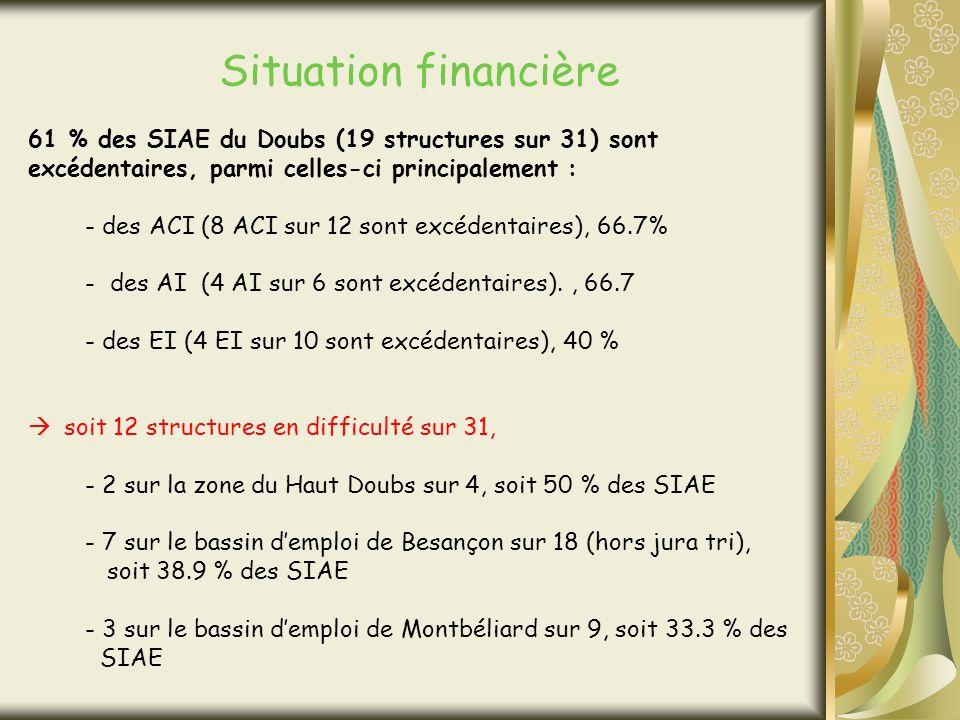 Situation financière 61 % des SIAE du Doubs (19 structures sur 31) sont excédentaires, parmi celles-ci principalement : - des ACI (8 ACI sur 12 sont excédentaires), 66.7% - des AI (4 AI sur 6 sont excédentaires)., 66.7 - des EI (4 EI sur 10 sont excédentaires), 40 % soit 12 structures en difficulté sur 31, - 2 sur la zone du Haut Doubs sur 4, soit 50 % des SIAE - 7 sur le bassin demploi de Besançon sur 18 (hors jura tri), soit 38.9 % des SIAE - 3 sur le bassin demploi de Montbéliard sur 9, soit 33.3 % des SIAE