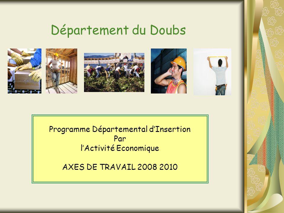 Département du Doubs Programme Départemental dInsertion Par lActivité Economique AXES DE TRAVAIL 2008 2010