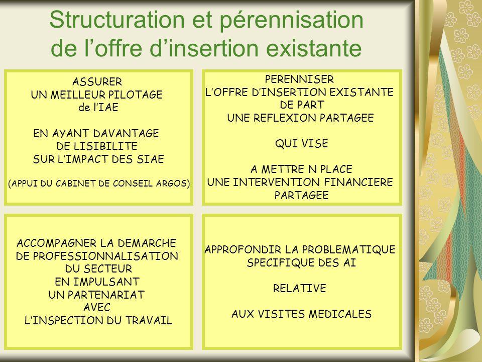 Structuration et pérennisation de loffre dinsertion existante ASSURER UN MEILLEUR PILOTAGE de lIAE EN AYANT DAVANTAGE DE LISIBILITE SUR LIMPACT DES SIAE (APPUI DU CABINET DE CONSEIL ARGOS) PERENNISER LOFFRE DINSERTION EXISTANTE DE PART UNE REFLEXION PARTAGEE QUI VISE A METTRE N PLACE UNE INTERVENTION FINANCIERE PARTAGEE ACCOMPAGNER LA DEMARCHE DE PROFESSIONNALISATION DU SECTEUR EN IMPULSANT UN PARTENARIAT AVEC LINSPECTION DU TRAVAIL APPROFONDIR LA PROBLEMATIQUE SPECIFIQUE DES AI RELATIVE AUX VISITES MEDICALES