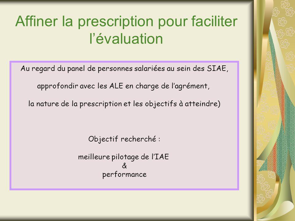 Affiner la prescription pour faciliter lévaluation Au regard du panel de personnes salariées au sein des SIAE, approfondir avec les ALE en charge de lagrément, la nature de la prescription et les objectifs à atteindre) Objectif recherché : meilleure pilotage de lIAE & performance
