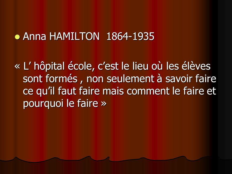 Anna HAMILTON 1864-1935 Anna HAMILTON 1864-1935 « L hôpital école, cest le lieu où les élèves sont formés, non seulement à savoir faire ce quil faut faire mais comment le faire et pourquoi le faire »