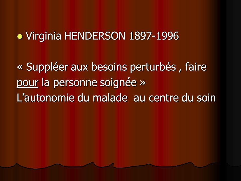 Virginia HENDERSON 1897-1996 Virginia HENDERSON 1897-1996 « Suppléer aux besoins perturbés, faire pour la personne soignée » Lautonomie du malade au centre du soin