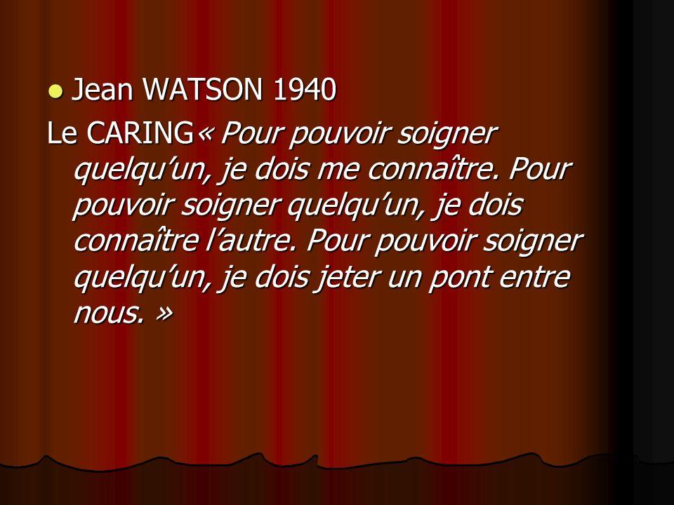 Jean WATSON 1940 Jean WATSON 1940 Le CARING« Pour pouvoir soigner quelquun, je dois me connaître.