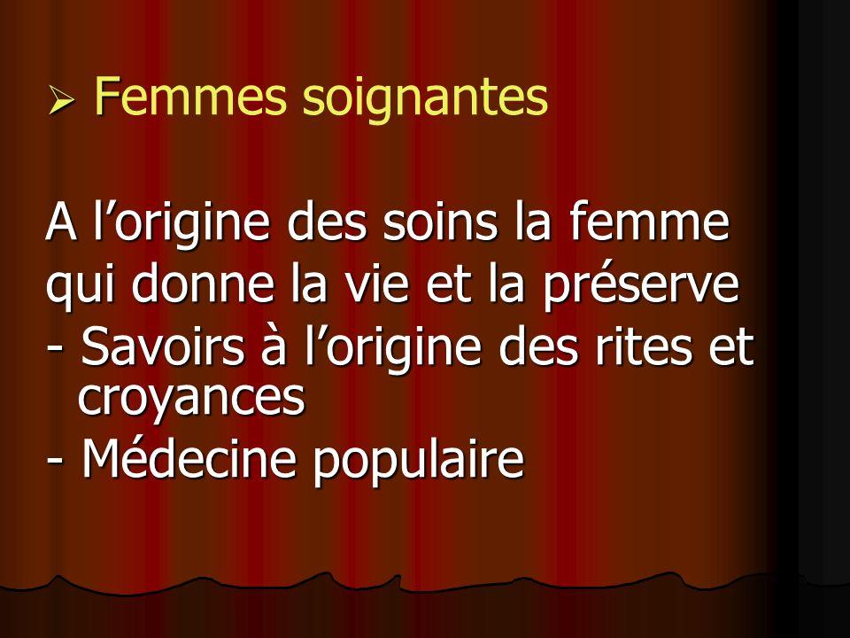 F Femmes soignantes A lorigine des soins la femme qui donne la vie et la préserve - Savoirs à lorigine des rites et croyances - Médecine populaire