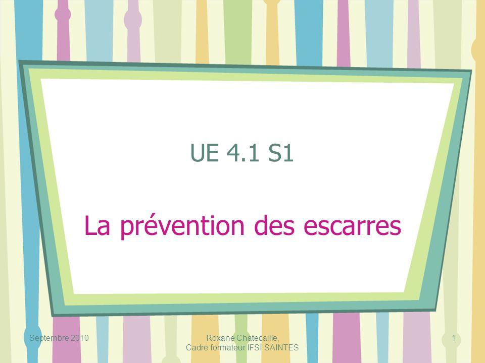 Septembre 2010Roxane Chatecaille, Cadre formateur IFSI SAINTES 1 UE 4.1 S1 La prévention des escarres