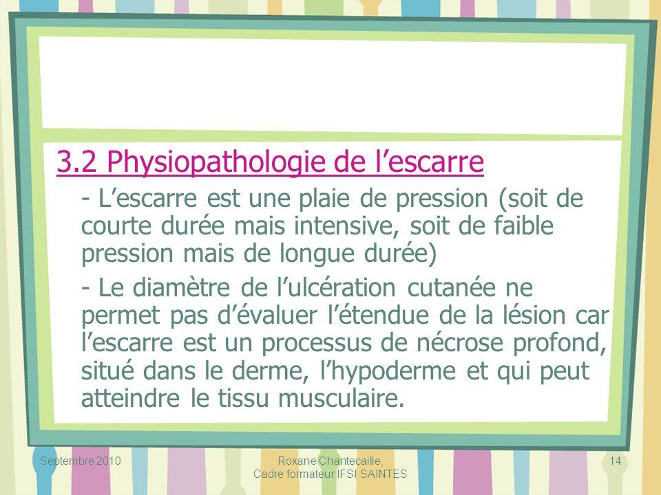 Septembre 2010Roxane Chantecaille, Cadre formateur IFSI SAINTES 14 3.2 Physiopathologie de lescarre - Lescarre est une plaie de pression (soit de cour