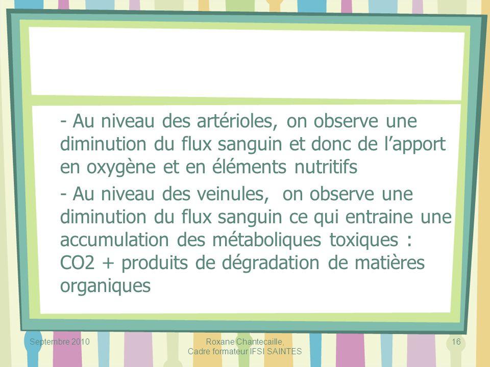 Septembre 2010Roxane Chantecaille, Cadre formateur IFSI SAINTES 16 - Au niveau des artérioles, on observe une diminution du flux sanguin et donc de la