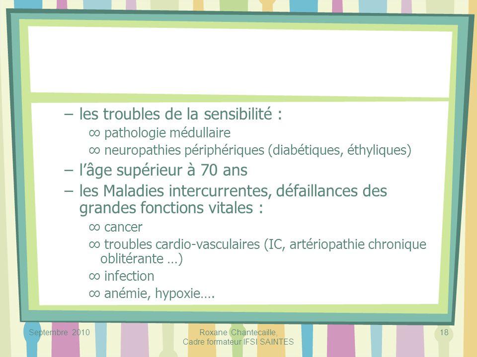 Septembre 2010Roxane Chantecaille, Cadre formateur IFSI SAINTES 18 –les troubles de la sensibilité : pathologie médullaire neuropathies périphériques