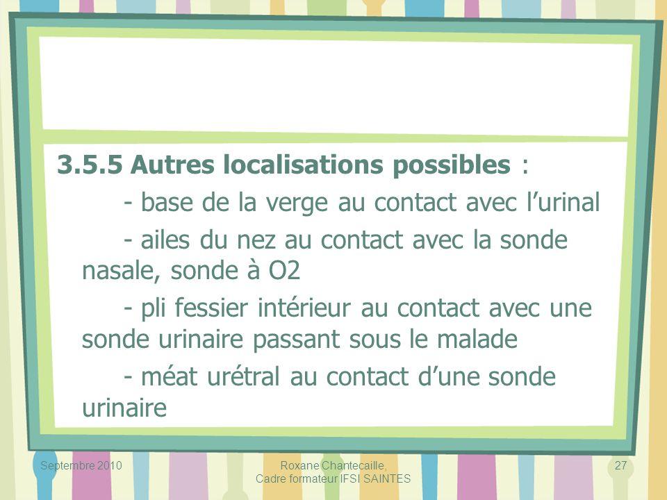 Septembre 2010Roxane Chantecaille, Cadre formateur IFSI SAINTES 27 3.5.5 Autres localisations possibles : - base de la verge au contact avec lurinal -
