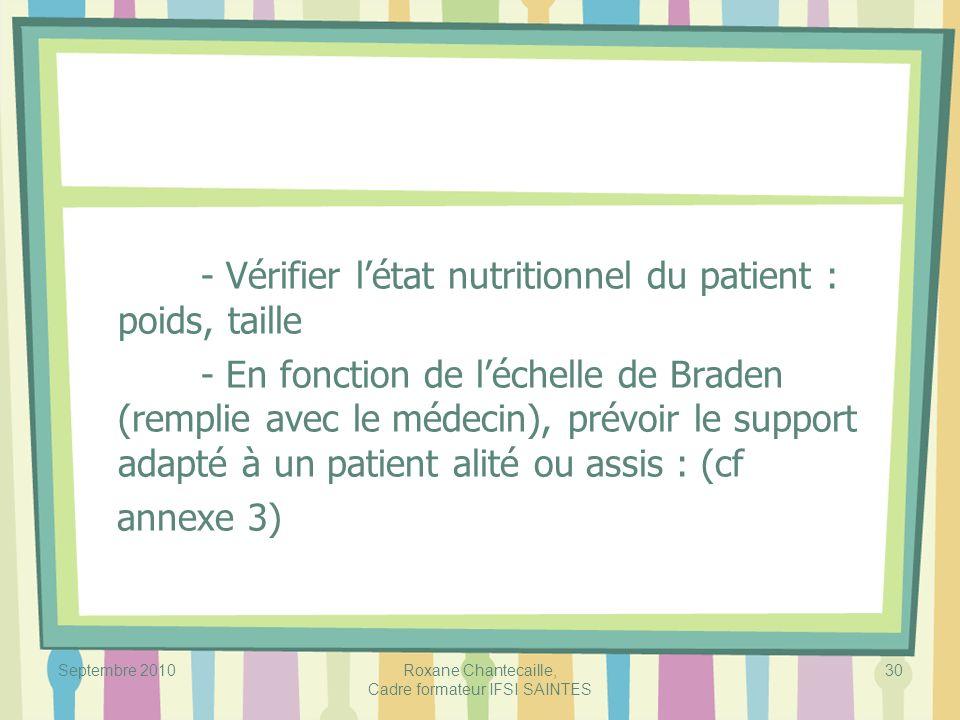 Septembre 2010Roxane Chantecaille, Cadre formateur IFSI SAINTES 30 - Vérifier létat nutritionnel du patient : poids, taille - En fonction de léchelle