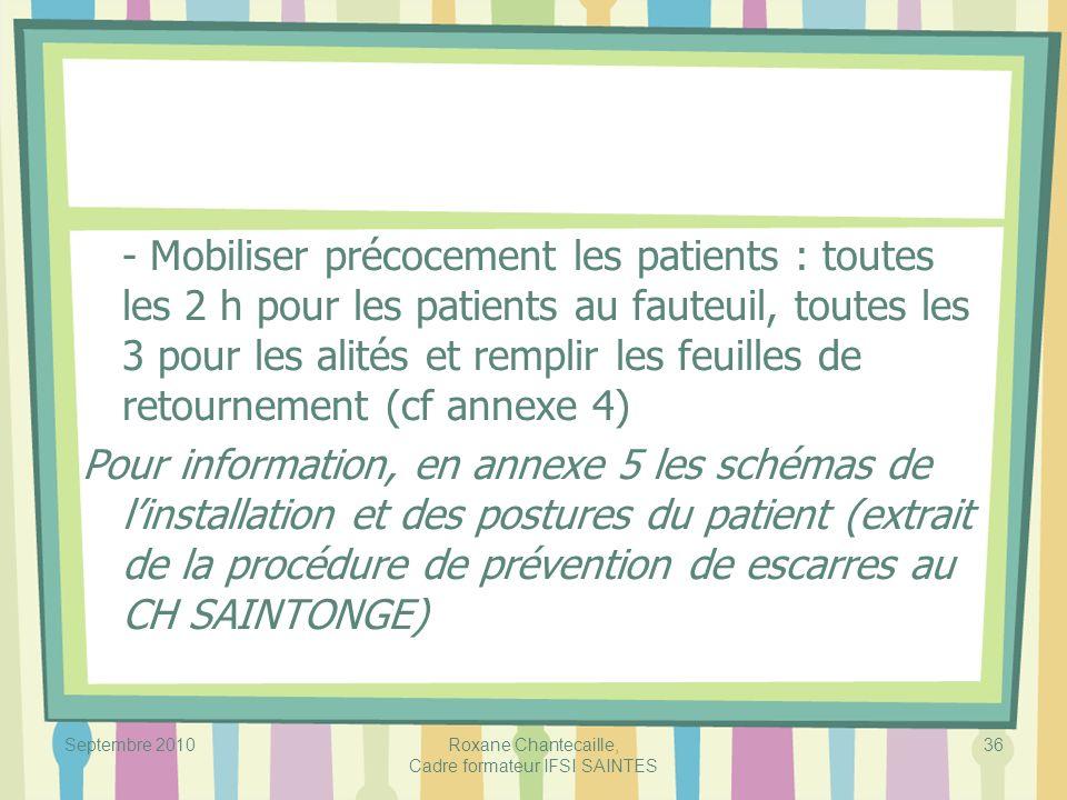 Septembre 2010Roxane Chantecaille, Cadre formateur IFSI SAINTES 36 - Mobiliser précocement les patients : toutes les 2 h pour les patients au fauteuil