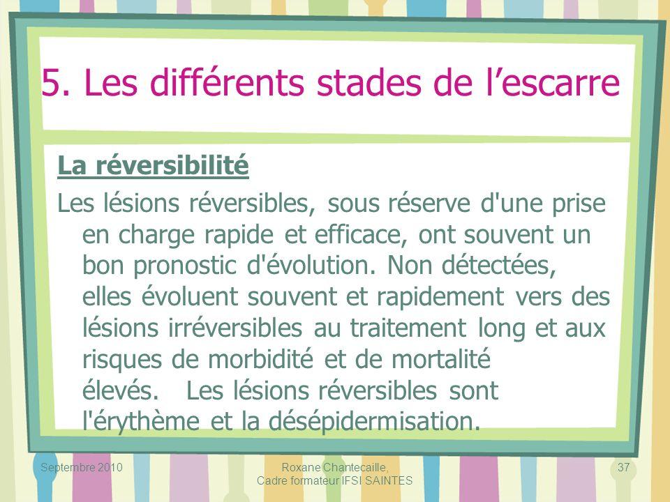 Septembre 2010Roxane Chantecaille, Cadre formateur IFSI SAINTES 37 5. Les différents stades de lescarre La réversibilité Les lésions réversibles, sous