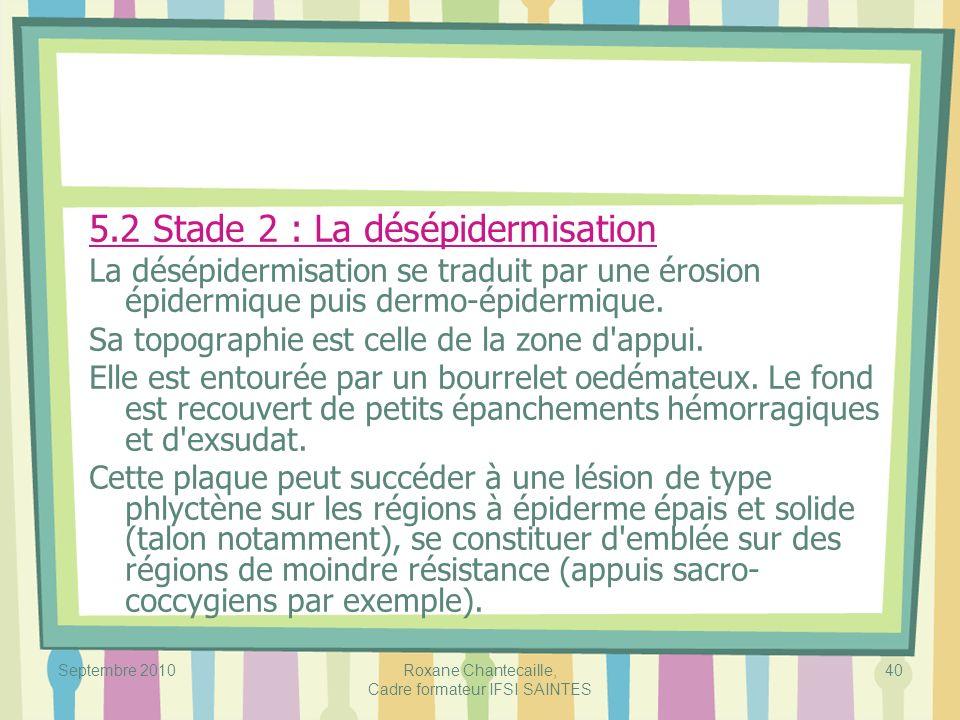 Septembre 2010Roxane Chantecaille, Cadre formateur IFSI SAINTES 40 5.2 Stade 2 : La désépidermisation La désépidermisation se traduit par une érosion