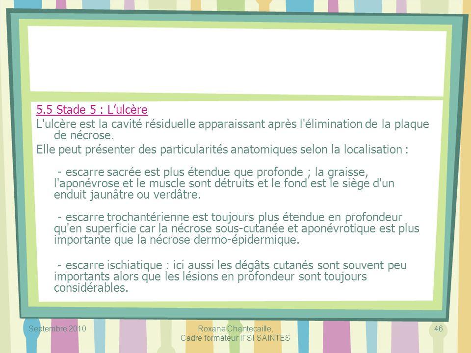 Septembre 2010Roxane Chantecaille, Cadre formateur IFSI SAINTES 46 5.5 Stade 5 : Lulcère L'ulcère est la cavité résiduelle apparaissant après l'élimin